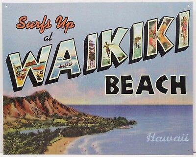 Paradise Surf Sign - Waikiki Hawaii Surfs Up Paradise Island Beach Metal Sign