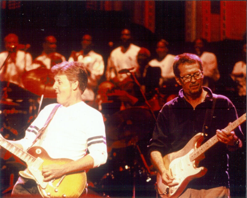 Paul McCarthy & Eric Clapton  8x10  color photo on stage together