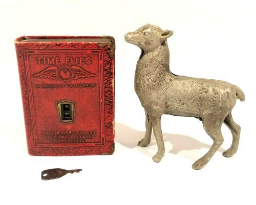 2 Vintage Still Banks ~ Book Coin Time Flies w/Key & Metal Deer or Lamb Bank