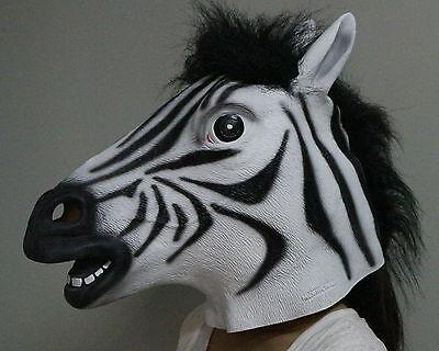 Deluxe Zebramuster Maske Latex Maskenkostüm Pferd Zoo Safari Tier