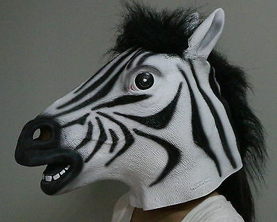 Deluxe Zebramuster Maske Latex Maskenkostüm Pferd Zoo Safari Tier Erwachsene