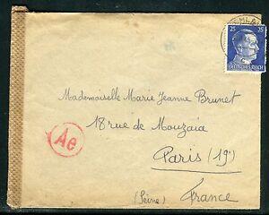Allemagne - Enveloppe de Ohlau pour Paris en 1943 avec contrôle postal réf F211 - France - Allemagne Enveloppe d ' un Franais de Ohlau pour Paris en 1943 , avec contrle postal Attention si vous avez + 2 lots attendre la facture de regroupement pour éviter de régler trop de frais d 'envoi merci - France