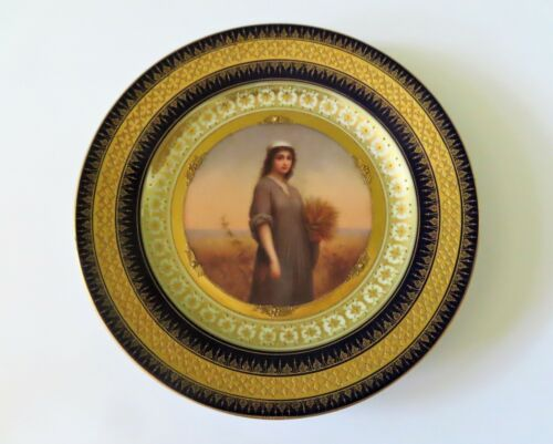"""Royal Vienna 9 1/2"""" Hand Painted Portrait Plate - Ruth w Cobalt & Gold Border"""