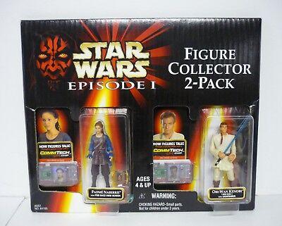 STAR WARS PADME NABERRIE & OBI WAN KENOBI Figure Collector 2-Pack MISP 1999 (Padme Lightsaber)