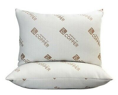 """Two Bed Pillows 20"""" x 28"""" Essence of Copper Infused Cover Hypoallergenic"""