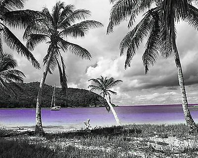Purple Home Decor Wall Art Photo Print Seascape Beach Bedroom Bathroom Picture  (Purple Bathroom Decor)