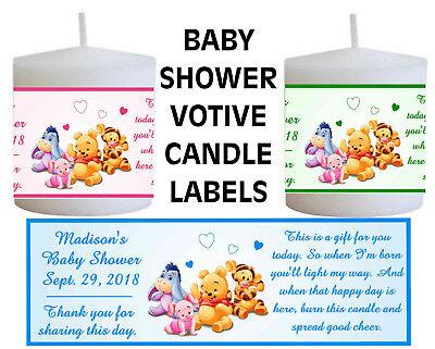 WINNIE THE POOH BABY SHOWER FAVORS VOTIVE CANDLE LABELS - Candle Baby Shower Favors
