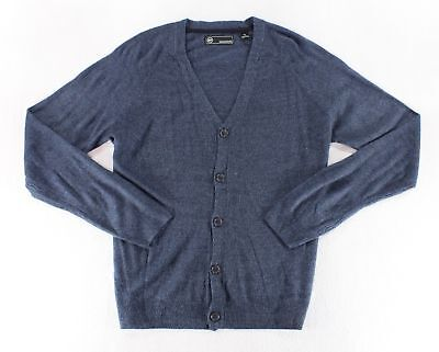 (Weatherproof Vintage Textured Cardigan Classic Fit Indigo Marl Mens Large New)