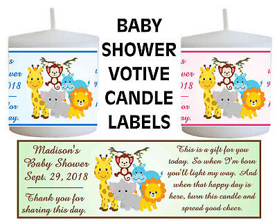 JUNGLE SAFARI ZOO BABY SHOWER FAVORS VOTIVE CANDLE LABELS - Candle Baby Shower Favors