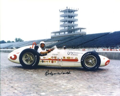 RODGER WARD  AUTOGRAPHED  AJ WATSON ROADSTER  1959  INDY 500 8 X 10 PHOTO