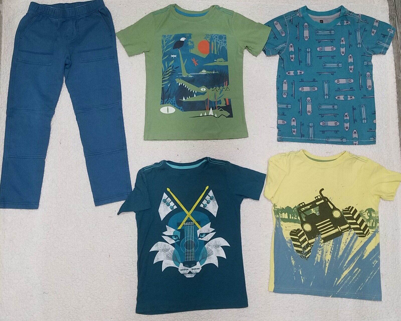 Lot - 5 Cute Boys Clothing Size 10 - 1 Pants, 4 Tops - Tea Collection  - $15.00