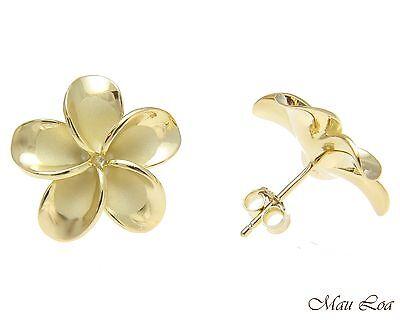 925 Silver Yellow Gold Hawaiian Plumeria Flower No CZ Stone Post Stud Earrings
