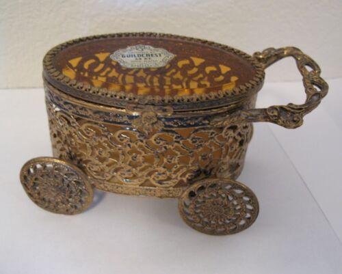 GUILDCREST GOLD ORMOLU ORNATE JEWELRY CASKET AMBER GLASS TRINKET BOX CART
