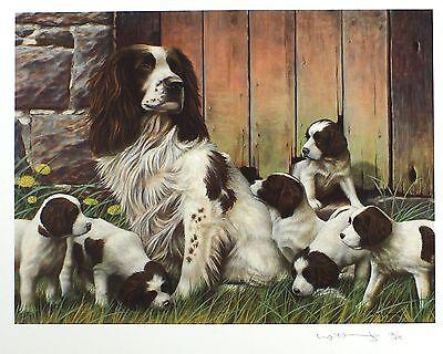 "NIGEL HEMMING ""Dad's Army"" spaniel puppies LTD ED SGD! SIZE:42cm x 50cm NEW RARE"
