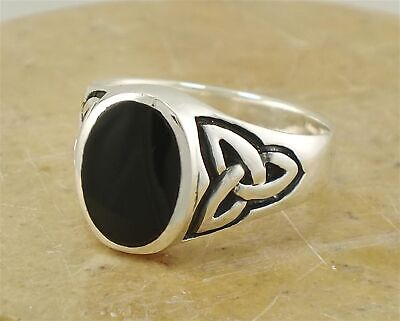 MENS .925 STERLING SILVER CELTIC ONYX RING size 10  style# -