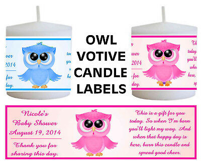 14 OWL BABY SHOWER FAVORS VOTIVE CANDLE LABELS (Owls Baby Shower)