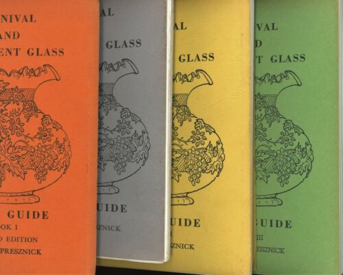 Rare 4-Vol. Book Set / Carnival and Iridescent Glass by Rose Presznick (Signed)
