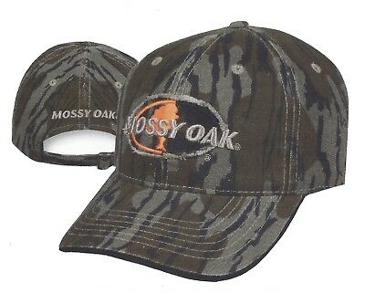 Mossy Oak BOTTOMLAND Camo w Licensed Logos Front Back Hunting Hat Cap c85bc221742a