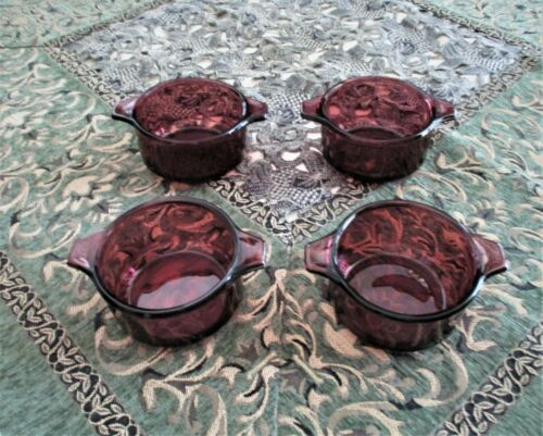 Rare Vintage Pyr-O-Rey Dynaware Purple Individual Casserole Dishes (Set of 4)