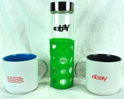Ebay 3 Coffee Mugs Cups Older Glass Water Bottle Bundle 14oz BPA Free Ebayana