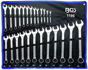 BGS Germany 25pcs Mechanics Metric Open & Ring Ended Cr-V Spanner Set 6-32 mm