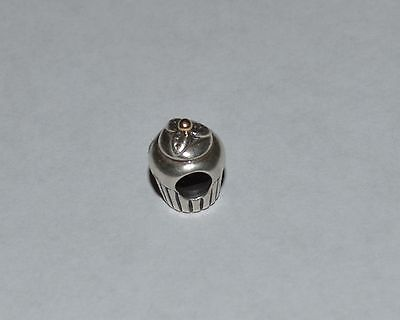 PANDORA STERLING SILVER AND 14 K GOLD CUPCAKE CHARM/BEAD