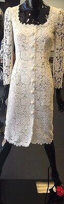 NWT DOLCE&GABBANA White Lace Dress, Decorative Buttons IT48 US12 6K