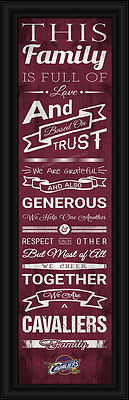 (Cleveland Cavaliers Family Cheer Framed Print - NBA Poster Wood Wall Sign Cave)