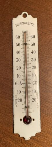 Antique Vintage French White Enamel Wall Thermometer ~ Scale in Centigrade