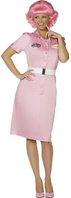 Pink Ladies Frenchie Costume (Ladies Pink Frenchie Beauty School Grease Movie Film Fancy Dress Costume)