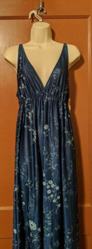 NWT VINTAGE TEXSHEEN LINGERIE LONG GOWN MEDIUM-NAVY BLUE FLORAL NIGHTGOWN
