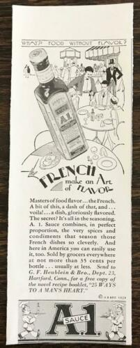 1929 A1 Sauce Print Ad French Make An Art of Flavor Heublein Hartford CT