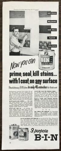 1954 Zinsser 3 Purpose B-I-N Flat White Primer Bullseye Shellac PRINT AD