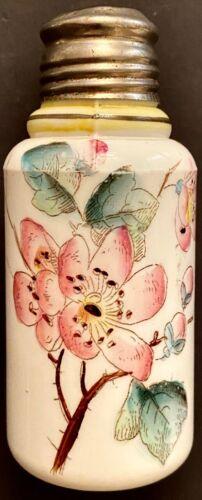 Antique Boston & Sandwich Hand Painted MILK GLASS SALT SHAKER Leafy Flower Sprig