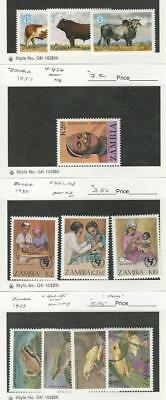 Zambia, Postage Stamp, #419-21, 426, 441-3, 462-5 Mint NH, 1987-9 Frog, Cow