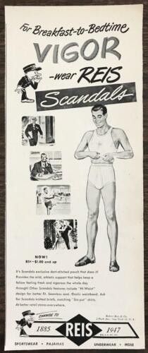 1947 Reis Scandals Mens Underwear Print Ad Breakfast to Bedtime Vigor