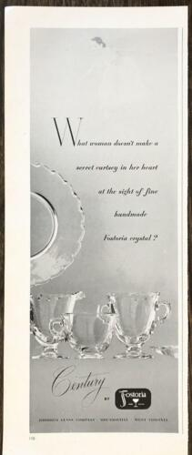 1952 Fostoria Crystal PRINT AD Century Pattern What Woman Doesn