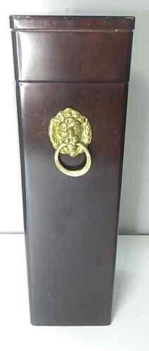 Vintage Bombay Company Wooden Box Match Holder with Brass Lion Knocker