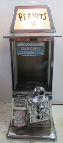 Masters Penny Operated Chrome Candy/Peanut Machine circa 1930