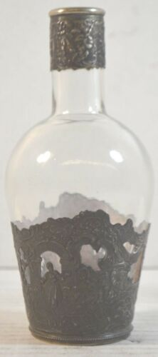 Antique Glass Bottle with 800 Silver Mount