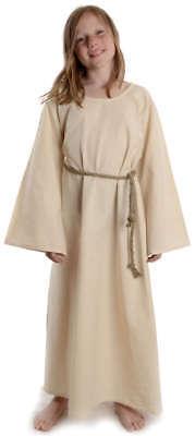 Mittelalter Kinderkleid natur beige aus Baumwolle LARP Trompetenärmel - Mittelalter Kleid Kostüm Mädchen