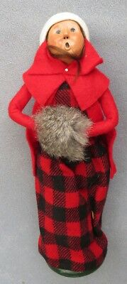 Byers Choice Caroler Traditional Adult Woman in Black & Red Plaid Dress w Muff