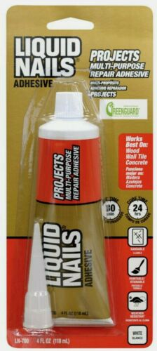 New! LIQUID NAILS Clear Small Projects High Strength Latex Adhesive 4 oz. LN-700