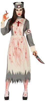 Damen Dead Vintage Zombie Krankenschwester Horror Halloween Kostüm Kleid Outfit