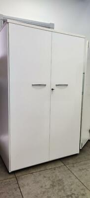 White Wardrobe with 2 doors 3 shelves key and lock W 100 H 160 Cabinet
