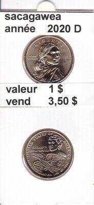e4 )pieces de 1 $ sacagawea 2020  D