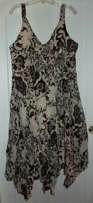 NWT Soho Brown White Floral Crinkle Dress Fairy Hem Plus Size 1X - Plus Size Fairy