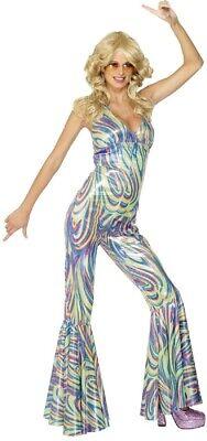 Ladies Sexy 1970s Disco Diva Queen Jumpsuit Fancy Dress Costume Outfit UK - Sexy Disco Jumpsuit Kostüm