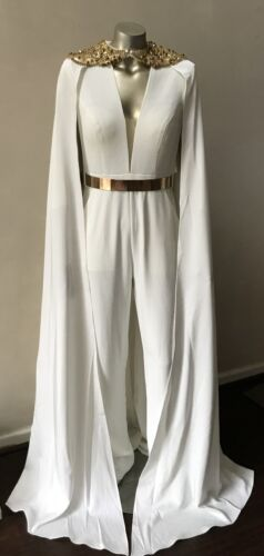 Couture Embellished 2 Piece Jumpsuit Cape Cloak Beige White Tall Gold Suit S