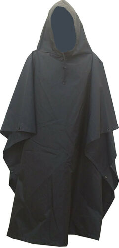 Military Style Nylon Poncho Black Color Made in USA Brand New Oxford Nylon